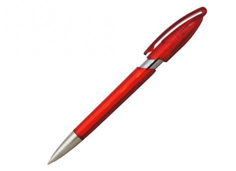 Ручка шариковая, автоматическая, пластик, прозрачный, металл, красный/серебро, RODEO артикул 41086/HTR