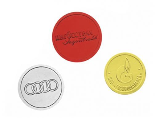 Шоколадные медали 25 г. с барельефным рисунком